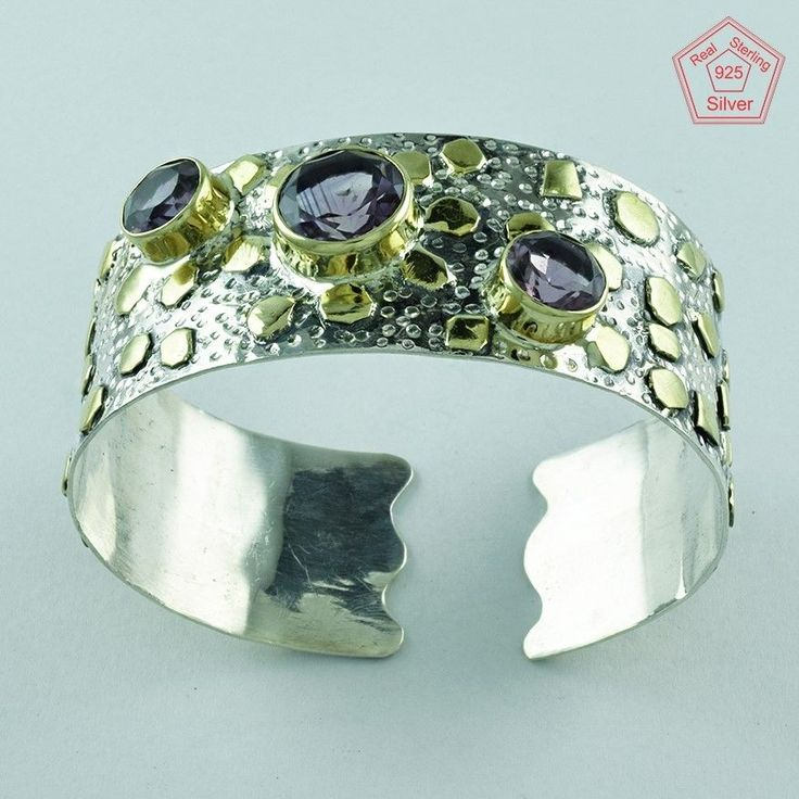 Attractive Design 925 Sterling Silver Amethyst Stone Bangle Jewelry P3341…