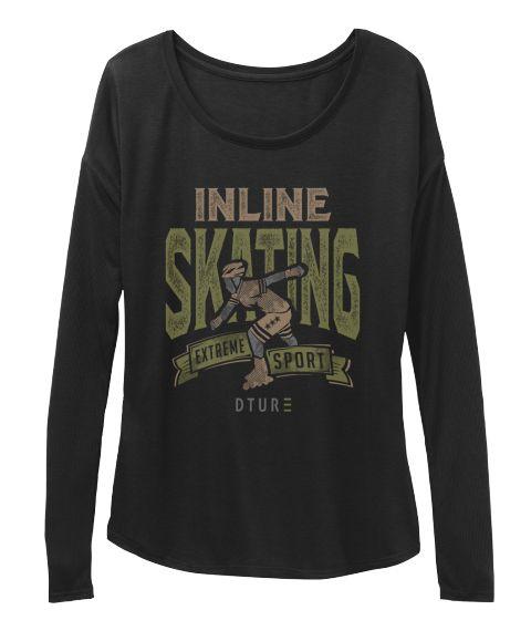 Inline Skating Extrene Sport Dtur Black T-Shirt Front