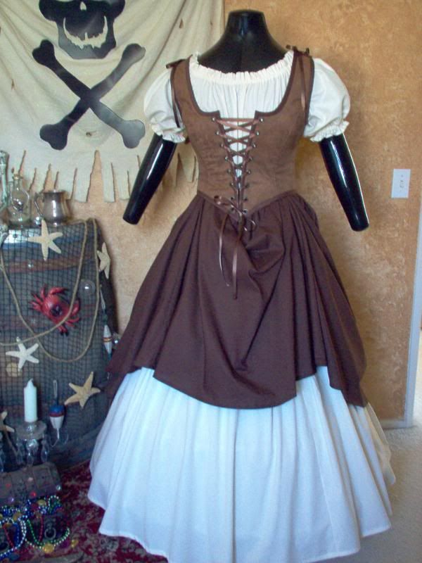 The shirt and skirts are made from 100% cotton. The bodice and is made from a beautiful brown faux suede and is available in other colors and patterns as well. This costume comes in plus sizes. Size ranges are bust 32 - 56 inches and waist is 25 to 51 inches.