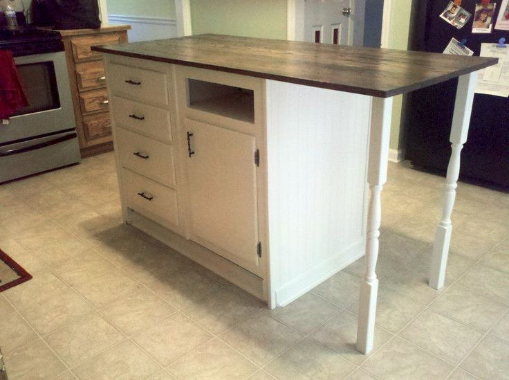 Kitchen Of The Week A Diy Ikea Country Kitchen For Two: Old Base Cabinets Repurposed To Kitchen Island