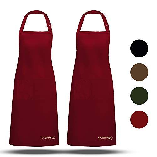 Etmury Tabliers De Cuisine 2 Pack Tablier Avec Poche Etanche Reglable Anti Taches Pour Cuisine Familial R Restaurant Barbecue Tablier Cuisine Cuisine Familiale