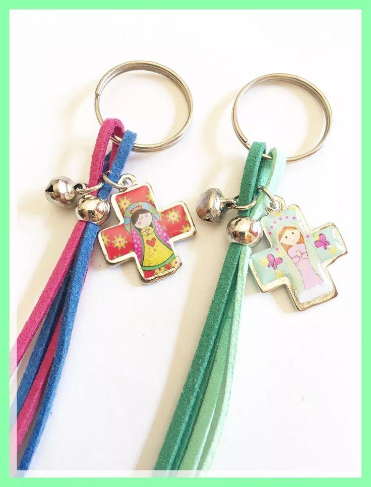 Souvenirs Comunion Llaveros Gamuza Bautismo Pack 10 - $ 170,00 en Mercado Libre