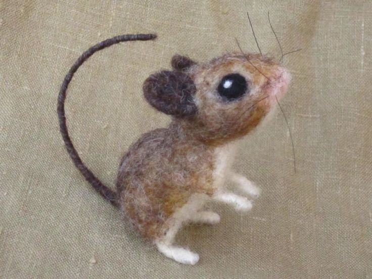 Amazing Needle felted field mouse poseable felted animal door Ainigmati