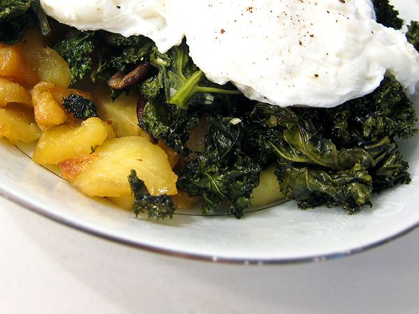 Roasted Sweet Potatoes and Kale with Poached Egg