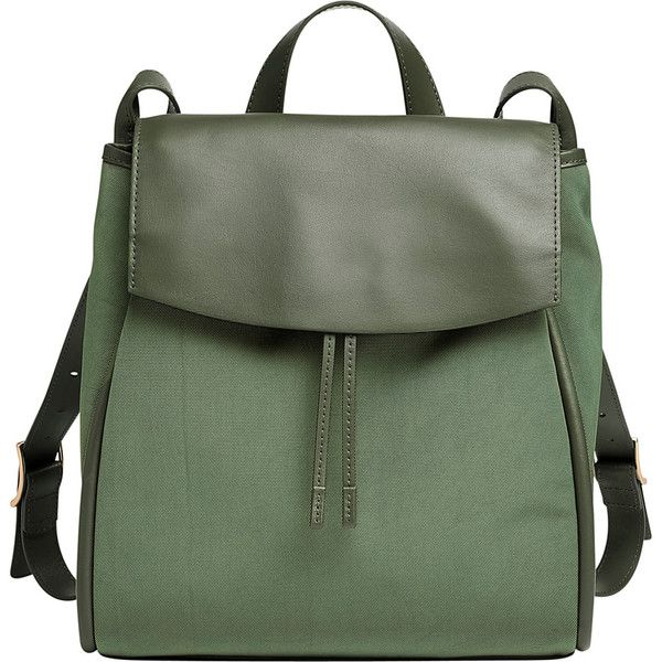Skagen Ebba Nylon and Leather Backpack - Agave - Backpack Handbags (5 210 UAH) ❤ liked on Polyvore featuring bags, backpacks, green, leather rucksack, day pack backpack, drawstring backpack, leather drawstring backpack and green leather backpack