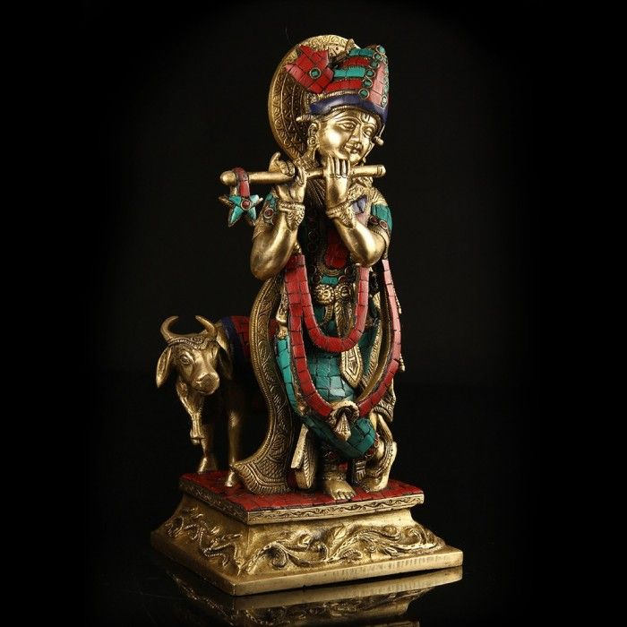 Brass & Mosaic Krishna with Cow!  http://www.indiancraftsmen.com/home-decor/brass-amp-mosaic/brass-and-mosaic-krishna