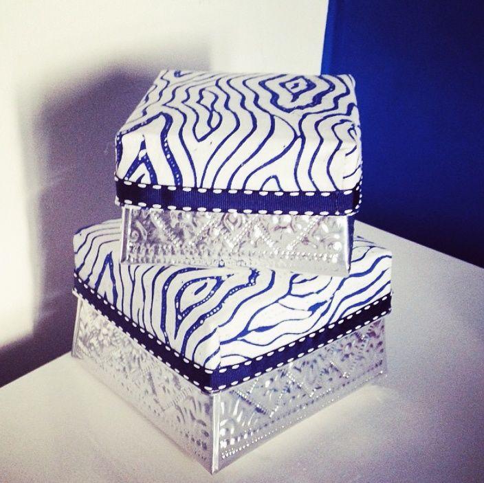 Blue gift box by Tan Living.