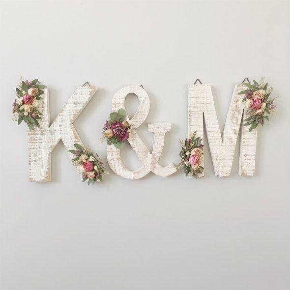 Wildflower Wooden Letter M Floral Letter Wooden Letter