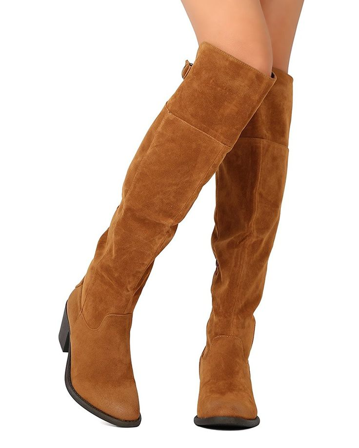 Qupid FD96 Women Faux Suede Over The Knee Harness Chunky Heel Riding Boot - Camel *** This is an Amazon Affiliate link. You can get more details by clicking on the image.