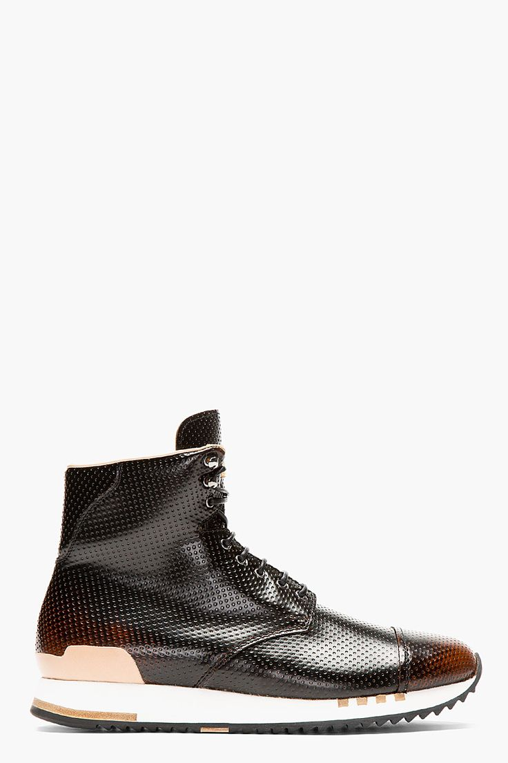 ALEXANDER MCQUEEN Black Punch-Hole High-Top Sneakers