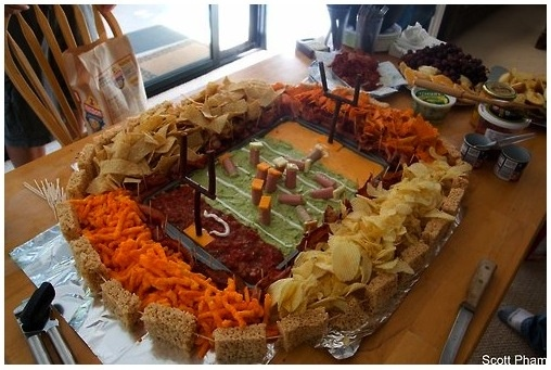 The SNACKADIUM: Guacamole field + cheese dip and salsa end zones + Slim Jim goal posts + sour cream yard markers + Ruffles, tortilla chips, Cheetos and Doritos for fans + vienna sausages with cheese helmets for players + Rice Krispy treat stadium + hot dogs with bacon separating fans from the field