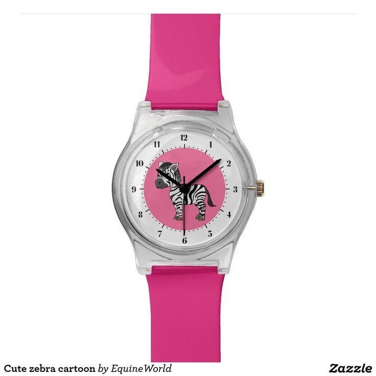 Cute zebra cartoon wristwatch