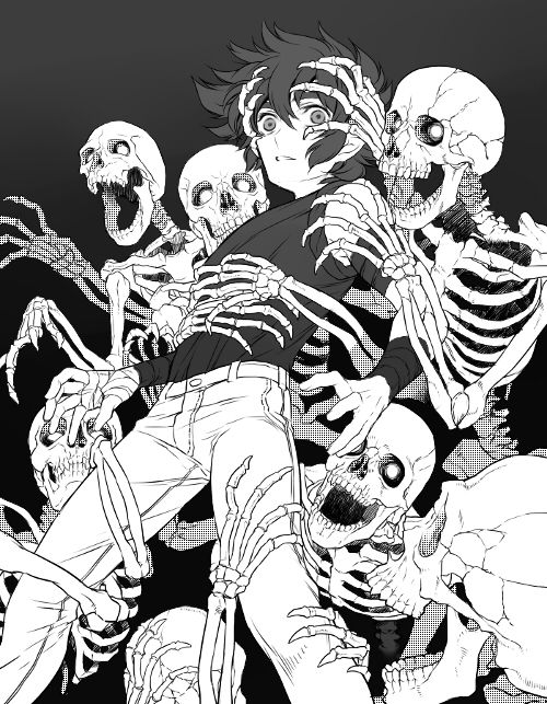 Maru: I'm not exactly a monster, but I'm a necromancer... I control the dead, so um. Please don't talk to me. *walks away with his army of skeletons* (xD I COULDN'T THINK OF ANYTHING)