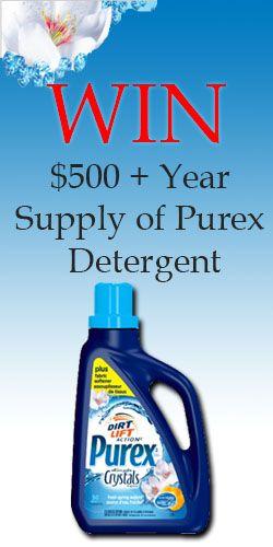 Win $500   Year Supply of Purex Detergent