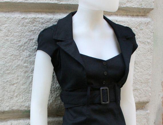 Black dress pinup dressfitted dressretro 50s by goodtimesbarcelona, $79.95