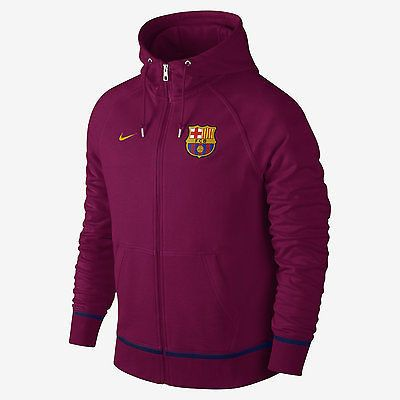 NIKE FC BARCELONA AW77 COVERT FULL ZIP HOODIE Dynamic Berry/University Gold
