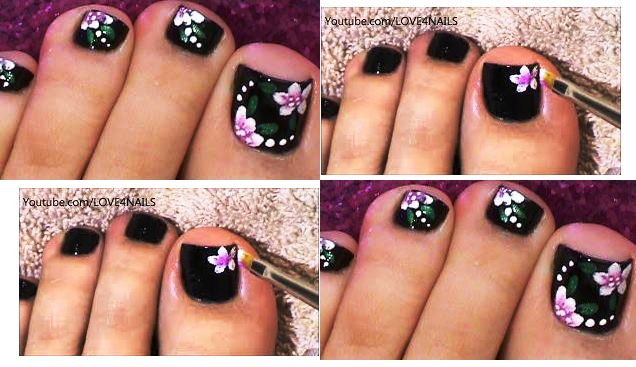 Dark Flower Toe Nail Art Design and Tutorial | AmazingNailArt.org