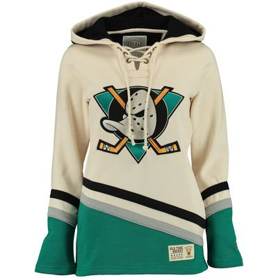 Women's Anaheim Ducks Old Time Hockey Natural Vintage Lacer Heavyweight Hoodie