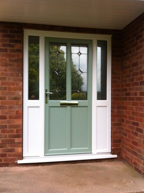 Front door in chartwell green with white upvc side panels for Double door with side windows