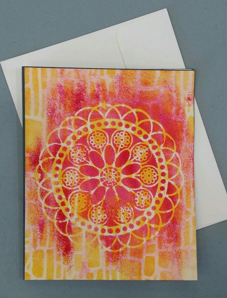 Lovely gift card made by Cathy using stencils.