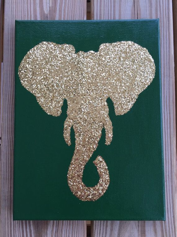 Customized 9x12 Glittered Elephant Silhouette by TheCreativeCrane