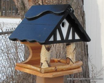 Ручная работа, открытый в загородном одна из рода кормушку для птиц/ дом комбо функциональных уникальный olde английский Тюдор дизайн ручной работы в США сильные построить