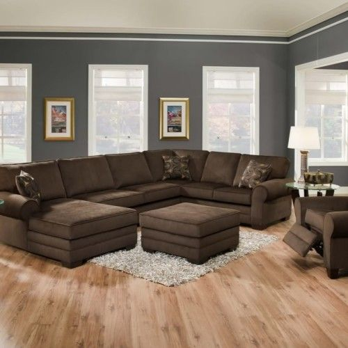 Stunning U Shaped Brown Sectional Sofa Design Inspiration In Grey Wall With Modern Furniture