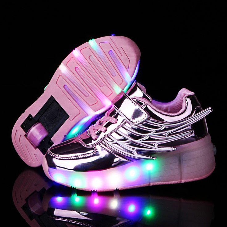 Zapato light-up LED Los niños zapatos de las muchachas jóvenes con rodillos hombres Skateboard patines , black and white , 41
