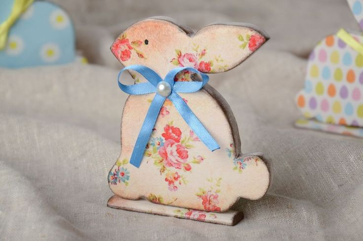 Easter Decoupage Wooden Figurine Of Rabbit With Floral Print