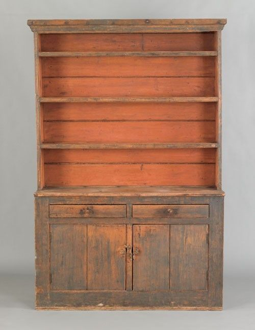 New England painted pine stepback cupboard, ca. 1800, retaining an early  blue surface - 464 Best Primitive Cupboards Images On Pinterest Cupboards