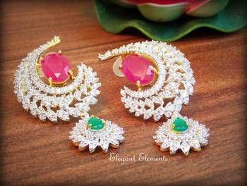 Celebrity royal collection cz diamond earring dangler