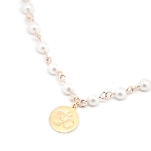 Om - Yellow Gold Pearl Necklace by Mademoiselle M