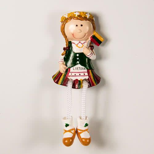 Resin Fridge Magnet: Lithuania. Girl Wearing National Lithuanian Dress