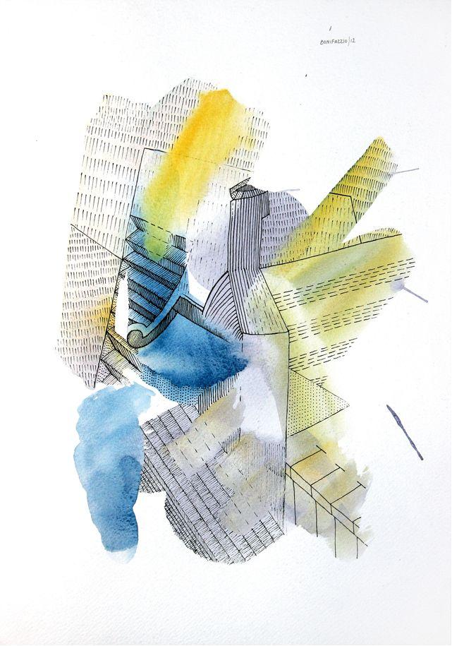 """""""Sin título"""". Acuarela y fibra sobre papel. 30 x 20 cm. 2012."""
