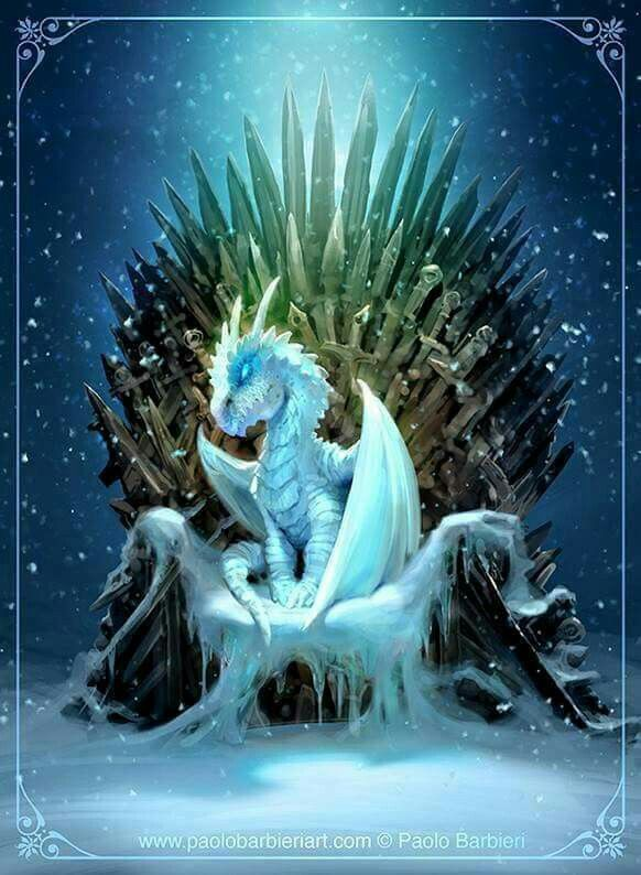 A white walker dragon on the iron throne. That or SPOILER ALERT it is representative of Jon Snow being a Targaryen from the North.