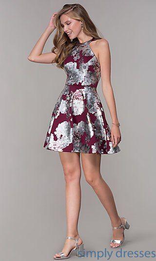 d83f02bd9b2e Metallic-Print Short Wedding-Guest Party Dress in 2019 | nightving ...