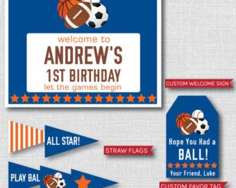 All Star Sports Birthday Party Package - Sports Themed Birthday Party Decor - DIGITAL DESIGN