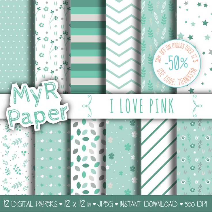 "Green Digital Paper: ""Green Flowers"" pack of backgrounds with floral, leaves, stars and hearts di MyRpaper su Etsy #etsy #patterns #design #graphic #scrapbooking #digitalpaper #womeninbiz #discount #sale #coupon #code"