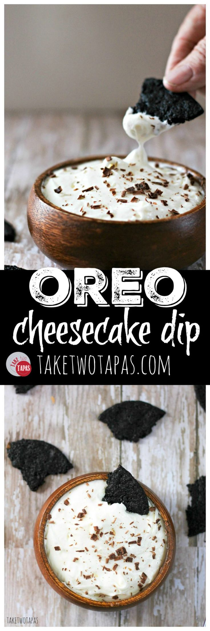 Oreo Cookies are are the best of chocolate cookies and a minty cream filling! Now the great flavors of the Oreo cookie are combined with cream cheese to make a cheesecake dip that will remind you of Oreo cookies and milk. Made with homemade chocolate wafers to dip! Oreo Cheesecake Dip Recipe with Homemade Chocolate Wafers | Take Two Tapas