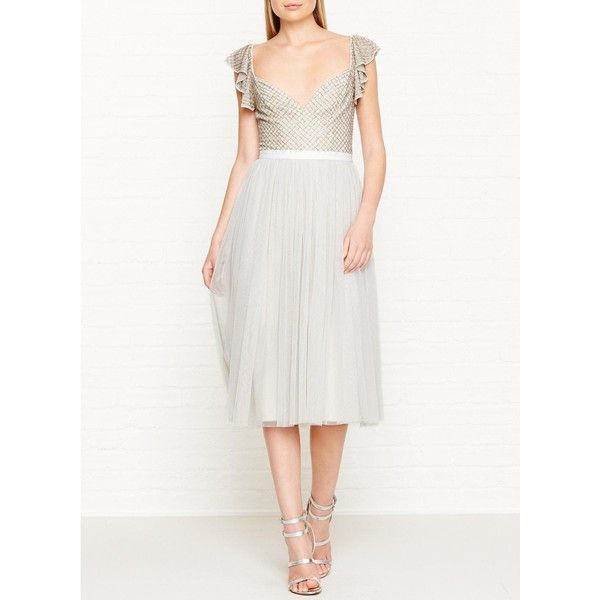 Needle & Thread Swan Tulle Cap Sleeve Dress (230 CAD) ❤ liked on Polyvore featuring dresses, grey, tulle dress, gray dress, short cap sleeve dress, gray cocktail dress and tulle cocktail dresses