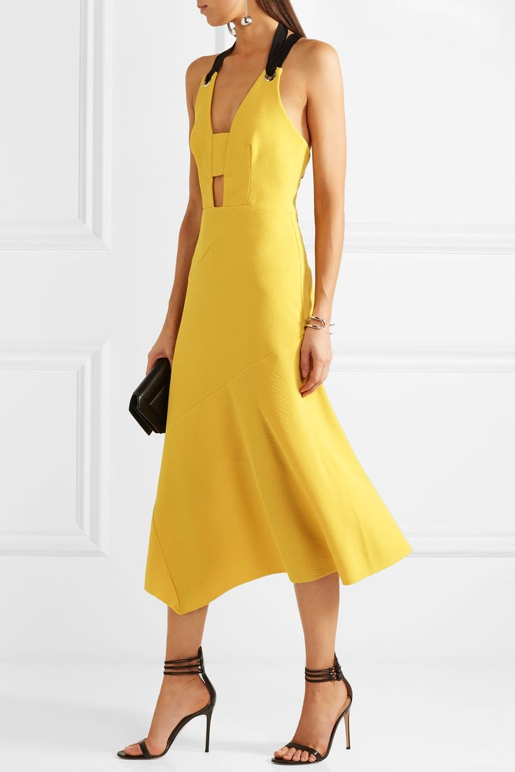 Yellow stretch-crepe, black grosgrain Tie and concealed zip fastening at back 97% polyester, 3% elastane; lining: 95% polyester, 5% elastane Dry clean Designer color: Zest