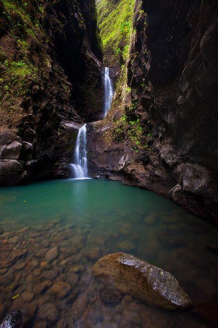 MAKALEHA GREEN Kapahi, Kauai, Hawaii Hidden up inside of Kauai's east side Makaleha Falls offers a picture perfect place to relax, swim and enjoy the brilliant colored water.