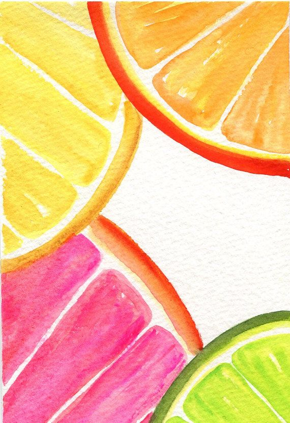 Citrus Watercolor Painting Original, Orange, Grapefruit, Lime slices, Fruit art 4 x 6 Farmhouse kitchen decor Citrus Watercolors Paintings  Lemon Orange by SharonFosterArt