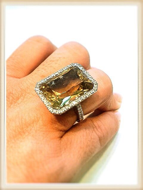 Quarzo citrino e diamanti