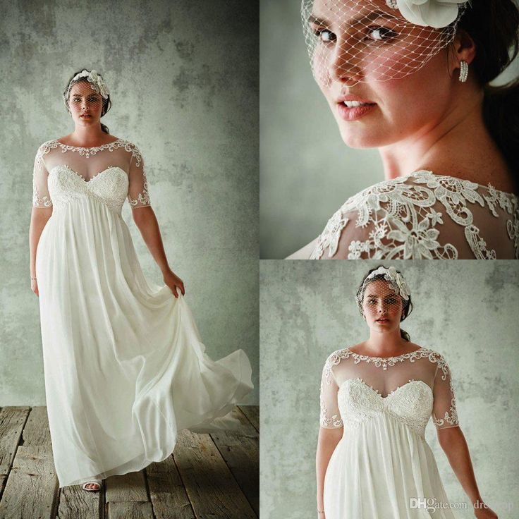 Fashion Plus Size Wedding Dresses With Half Sleeves Sheer Jewel Neck A Line Lace Appliqued Bridal Gowns Chiffon Empire Waist Wedding Dress