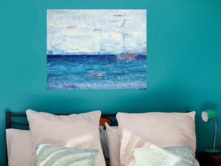 [Nieuw schilderij | NIEUW: Schilderij met structuur - Zee van vrijheid | abstract schilderij met structuur van 80 x 100 cm in blauw, turquoise, wit en roze met zand van Texel erop. | https://marloesvanzoelen.nl/schilderijen/schilderij-met-structuur-zee-van-vrijheid/