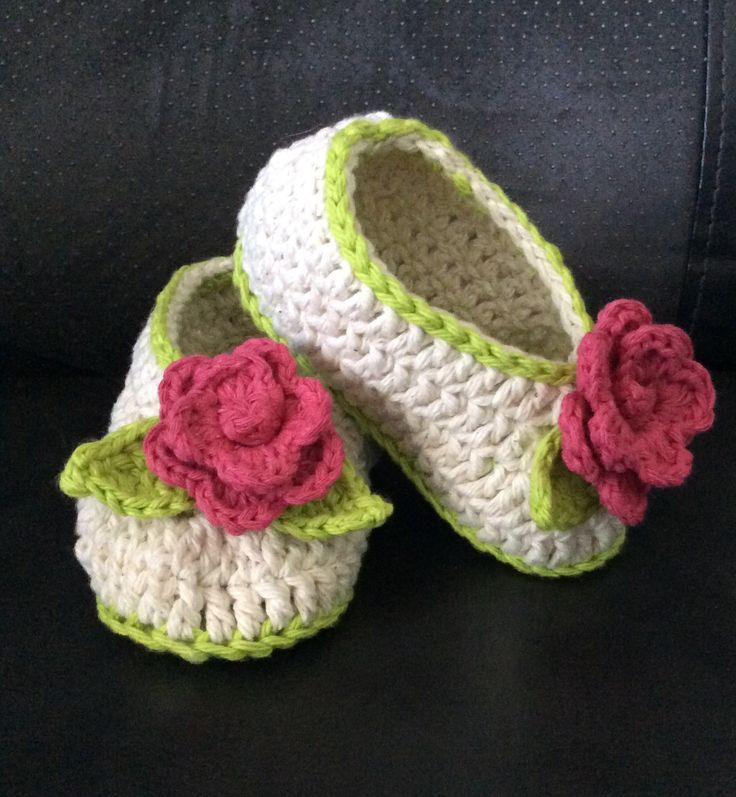 Crochet Toddler Slippers with Rose