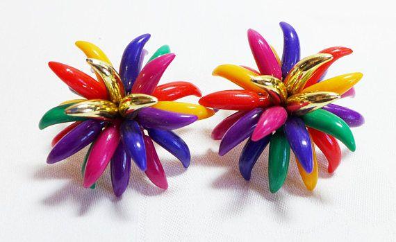 Wild 1970's Earrings Multi Color Boho Mod Large Clip On
