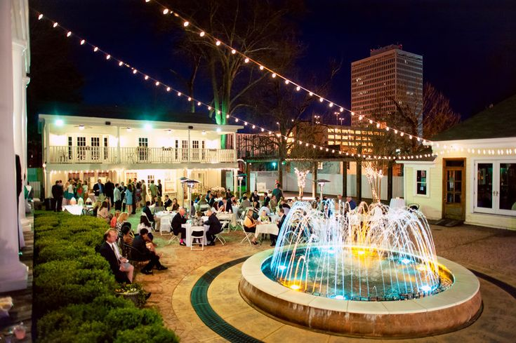 Beautiful Reception Outdoor Party String Lights Water Fountain Event Planning Mississippi Venues Gorgeous Wedding Venue Jackson Lo