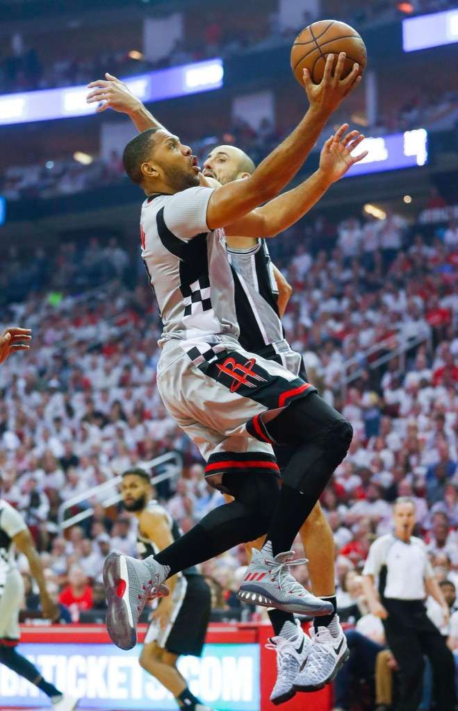 Houston Rockets guard Eric Gordon (10) shoots past San Antonio Spurs guard Manu Ginobili (20) during the first half of Game 3 of the second round of the Western Conference NBA playoffs at the Toyota Center, Sunday, May 7, 2017, in Houston. ( Karen Warren / Houston Chronicle ) Photo: Karen Warren/Houston Chronicle